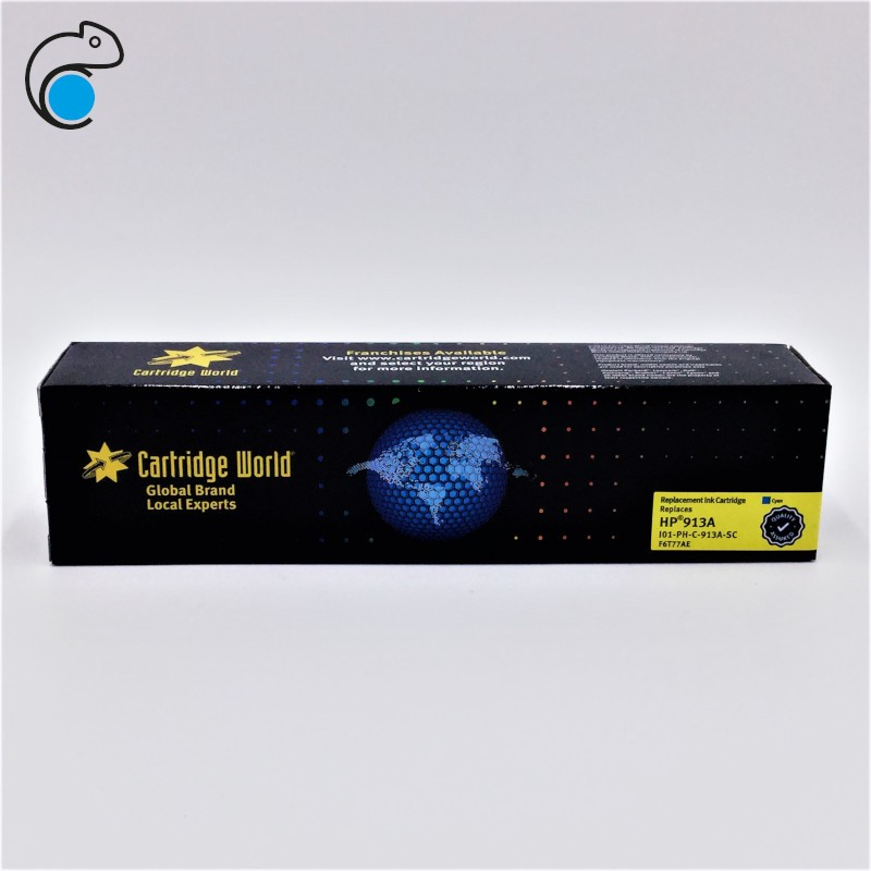 CW HP 913A Cyan Cartouche d'encre Cyan Premium Remanufacturée Cartridge World